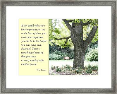 A Quote To Remember Framed Print