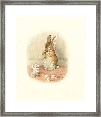 Framed Print featuring the painting A Rabbit's Tea Party by Beatrix Potter