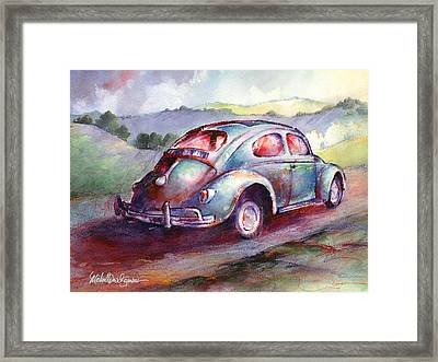 A Rag Top Bug In Wine Country Framed Print by Michael David Sorensen