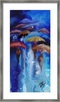 Framed Print featuring the digital art A Rainy Day In Paris by Darren Cannell