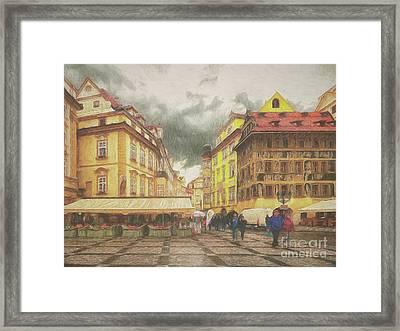 A Rainy Day In Prague Framed Print