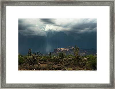 Framed Print featuring the photograph A Rainy Evening In The Superstitions  by Saija Lehtonen