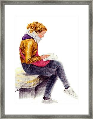Framed Print featuring the painting A Reading Girl In Milan by Jingfen Hwu