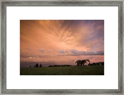 A Receding Thunderstorm Creates Framed Print