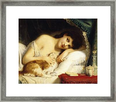 A Reclining Beauty With Her Cat Framed Print