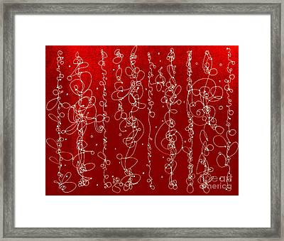 A Red Line Dance Framed Print by Nancy Kane Chapman