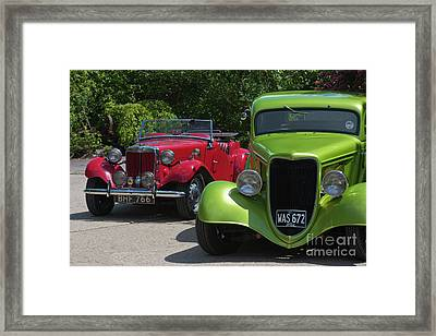 A Red Mg And A Green Hot Rod Framed Print by Terri Waters
