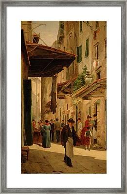 A Rendezvous In The Uffizi Framed Print by Odoardo Borrani