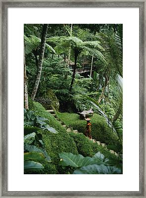 A Resort Worker Walks Up The Steps Framed Print by Justin Guariglia
