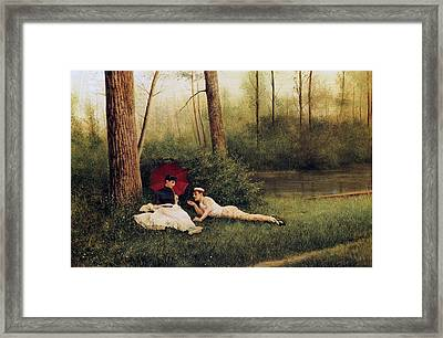 A Rest After Boating Framed Print by Georges Croegaert