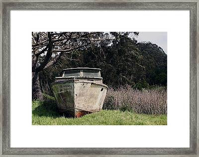 A Retired Old Fishing Boat On Dry Land In Bodega Bay Framed Print