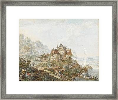 A Rhine Landscape With Peasants At Work Framed Print