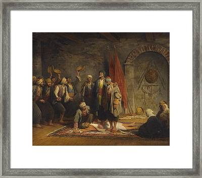 A Rifai Sufi Ceremony Framed Print by Adolphe Yvon