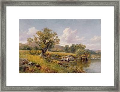 A River Landscape Framed Print by David Bates