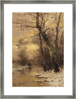 A River Landscape In Autumn A River Landscape In Winter Framed Print by Celestial Images