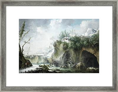 A River Landscape In Winter, With Travellers On A Snowy Path Framed Print