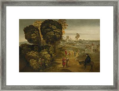 A River Landscape With Figures On A Country Road Framed Print by MotionAge Designs