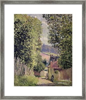 A Road In Louveciennes Framed Print by Alfred Sisley