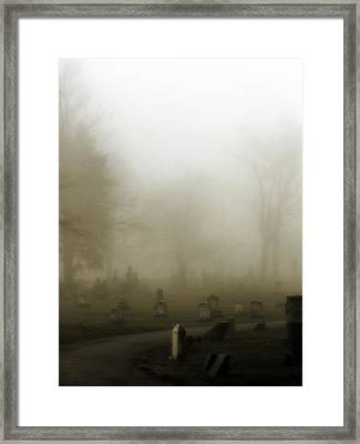 A Road Through The Fog Soaked Graveyard Framed Print