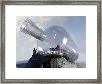 A Robot In A Bottle Framed Print by Michael Knight