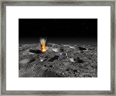 A Robotic Probe Drills Into The Surface Framed Print