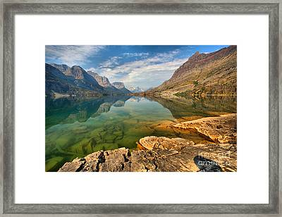 A Rocky Bottom To Towering Peaks Framed Print