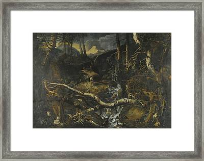 A Rocky Mountainous Landscape With A Torrent Framed Print by Anton Faistenberger