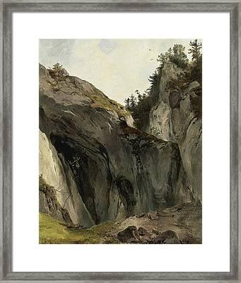 A Rocky Outcrop With Vegetation Framed Print by Friedrich Gauermann