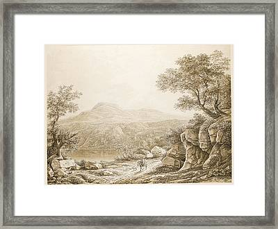 A Rocky Roman Landscape With A Traveller On Horseback Framed Print