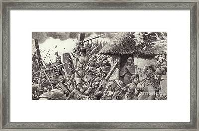 A Roman Legion Storms Maiden Castle Framed Print