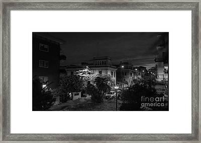 A Roman Street At Night Framed Print