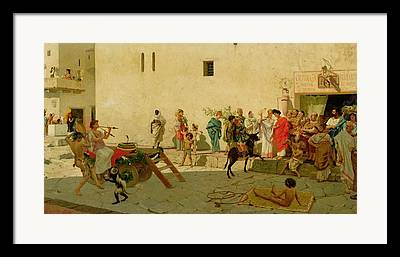 Musicians And A Performing Monkey In The Roman Street Framed Prints
