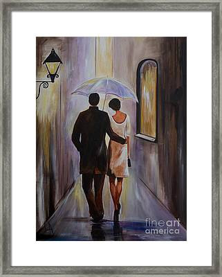 A Romantic Stroll Framed Print by Leslie Allen