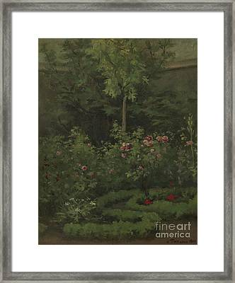 A Rose Garden Framed Print by Camille Pissarro