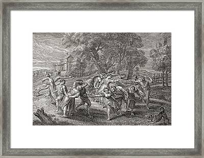 A Round Dance, After An Engraving Framed Print by Vintage Design Pics