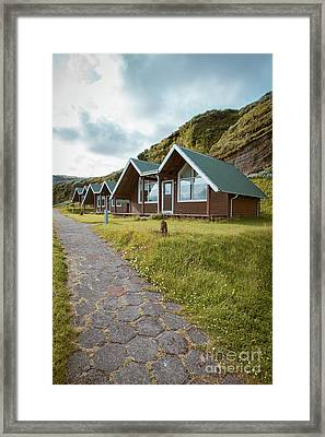 A Row Of Cabins In Iceland Framed Print