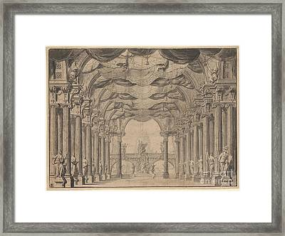 A Royal Hall With A Bridge In The Distance Framed Print by Celestial Images