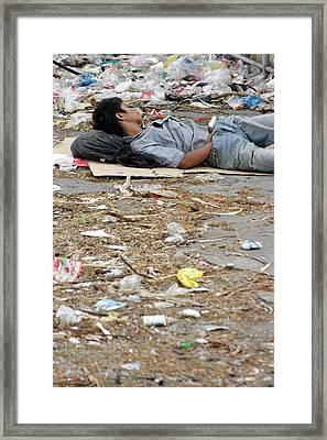 A Rubbish Sleep Framed Print by Jez C Self