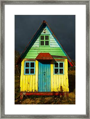 A Rustic Colorful House Framed Print by Jess Kraft
