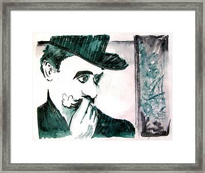 A Sad Portrait Of Chaplin Framed Print by Seth Weaver