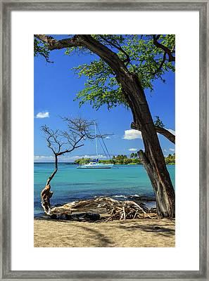 A Sailboat In Anaehoomalu Bay Framed Print by James Eddy