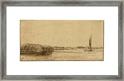 A Sailing Boat On A Wide Expanse Of Water Framed Print by Celestial Images