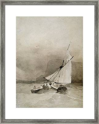A Sailing Vessel And A Rowing Boat In Rough Seas Framed Print