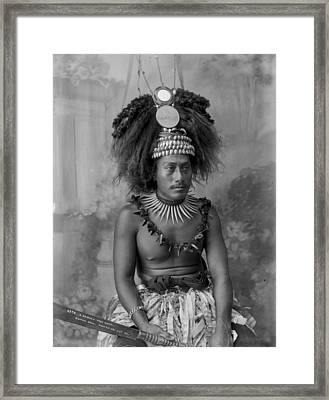 Framed Print featuring the painting A Samoan High Chief by Artistic Panda