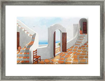 A Santorini View Original Oil Painting For Sale - Prints Available Framed Print