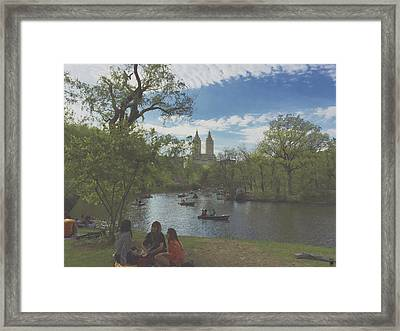 A Saturday In May In Central Park 1 Framed Print by Muriel Levison Goodwin