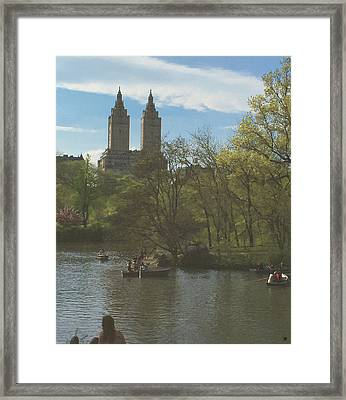 A Saturday In May In Central Park 2 Framed Print by Muriel Levison Goodwin