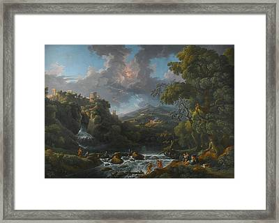 A Scene In The Roman Campagna With A Capriccio View Of Tivoli And A Bolt Of Lightning Framed Print by MotionAge Designs
