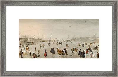 A Scene On The Ice, Framed Print