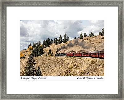 Framed Print featuring the photograph A Scenic Railroad Steam Train, Near Antonito In Conejos County In Colorado by Carol M Highsmith